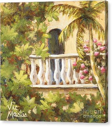 In The Oasis With Gold Leaf By Vic Mastis Canvas Print by Vic  Mastis