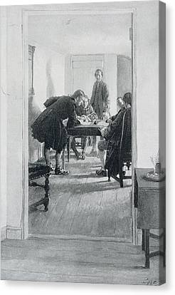 In The Old Raleigh Tavern, Illustration From At Home In Virginia By Woodrow Wilson, Pub. In Harpers Canvas Print by Howard Pyle
