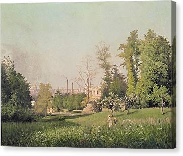 In The Park At Issy-les-moulineaux, 1876 Oil On Canvas Canvas Print by Prosper Galerne