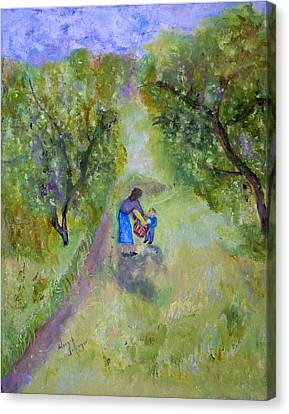 Canvas Print featuring the painting In The Pear Orchard by Aleezah Selinger