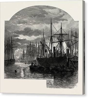 In The Pool, Colliers Unloading, Scenery Of The Thames Canvas Print by English School
