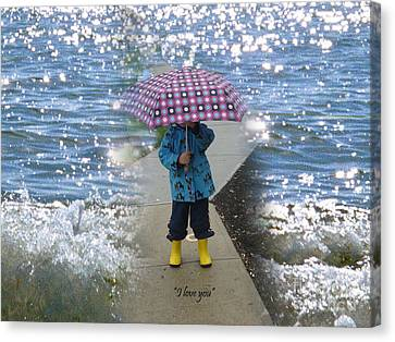 In The Rain I Love You Canvas Print