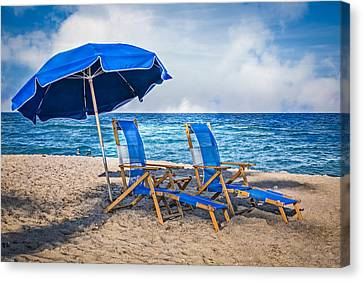 Adirondack Chairs On The Beach Canvas Print - In The Shade by Debra and Dave Vanderlaan