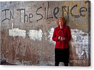 In The Silence Older Woman Canvas Print by Valerie Garner
