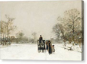 In The Snow Canvas Print by Luigi Loir