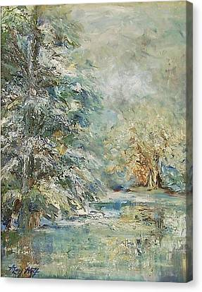 In The Snowy Silence Canvas Print by Mary Wolf