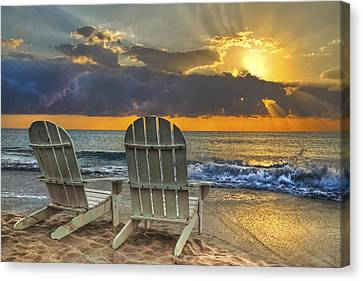 Chair Canvas Print - In The Spotlight by Debra and Dave Vanderlaan