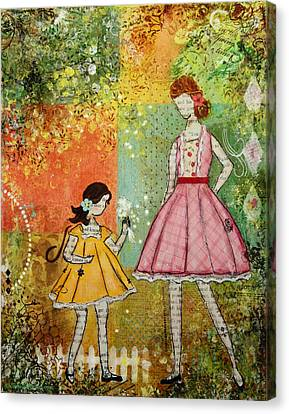 Impressionist Canvas Print - In The Springtime Unique Mixed Media Folk Art Of Children by Janelle Nichol