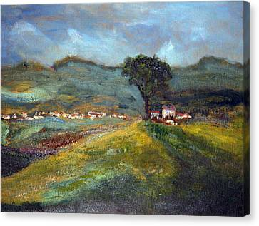 Canvas Print featuring the painting In The Tuscan Hills by Michael Helfen