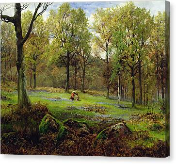Forest Floor Canvas Print - In The Woods by Henry Crossland