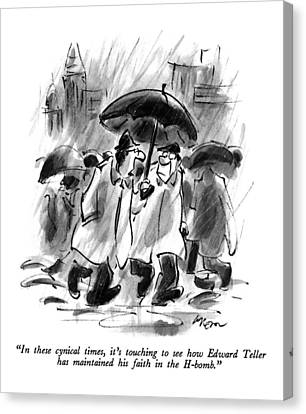 Rainy Street Canvas Print - In These Cynical Times by Lee Lorenz