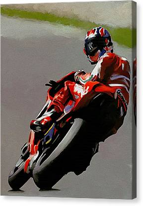 In Victory  Casey Stoner Canvas Print by Iconic Images Art Gallery David Pucciarelli