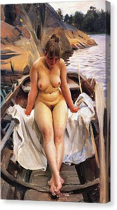 In Werners Rowing Boat Canvas Print by Anders Zorn
