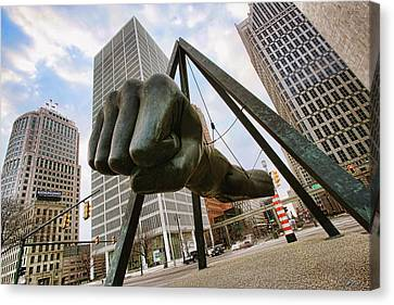Motors Canvas Print - In Your Face -  Joe Louis Fist Statue - Detroit Michigan by Gordon Dean II