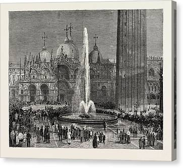 San Marco Canvas Print - Inaugurating The New Water Supply Of Venice In The Piazza by Italian School
