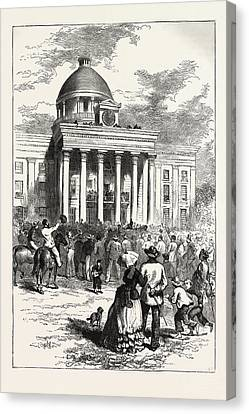 Inauguration Of Jefferson Davis Canvas Print by American School