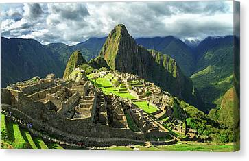 Inca City Of Machu Picchu, Urubamba Canvas Print by Panoramic Images