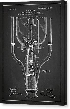 Oil Lamp Canvas Print - Incandescent Street Light Patent Drawing From 1904 by Aged Pixel