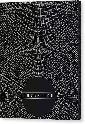 Canvas Print featuring the digital art Inception Movie Poster by Mike Taylor