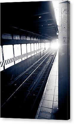 Canvas Print featuring the photograph Incoming At The Subway - New York City by Peta Thames