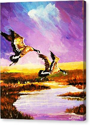 Canvas Print featuring the painting Incoming Geese by Al Brown