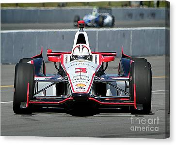 Indy Car Canvas Print - Incoming Helio Castroneves by Bryan Maransky