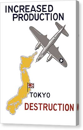Increased Production - Tokyo Destruction Canvas Print by War Is Hell Store