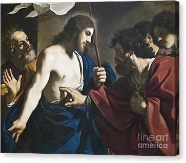 Incredulity Of St Thomas By Il Guercino Canvas Print