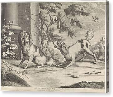 Incumbent And Barking Dog In Squirrel, Hendrick Hulsbergh Canvas Print