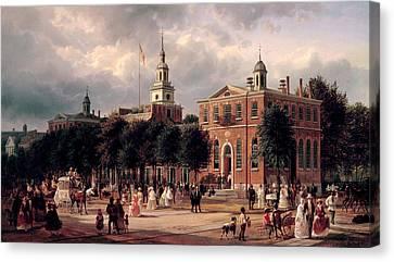 Independence Hall In Philadelphia Canvas Print by Ferdinand Richardt