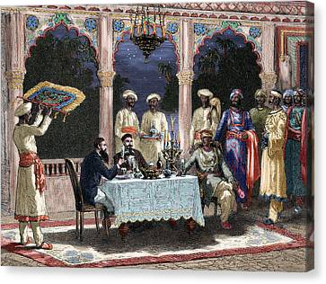 India  British Colonial Era  Banquet At The Palace Of Rais In Mynere Canvas Print by Hildibrand