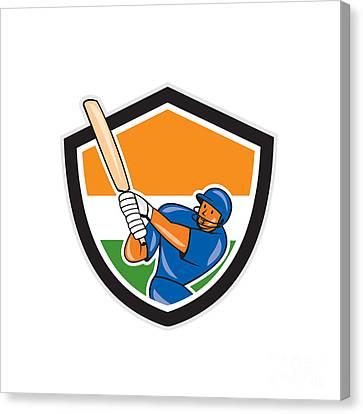 India Cricket Player Batsman Batting Shield Cartoon Canvas Print