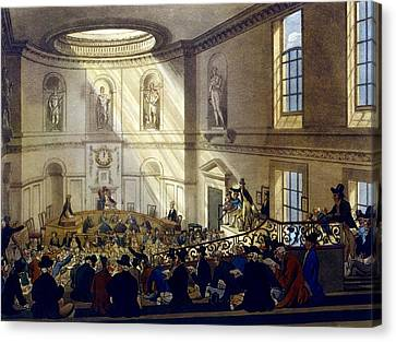 India House, The Sale Room Canvas Print by T. & Pugin, A.C. Rowlandson