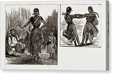 India In London, 1886 A Tanjore Nautch Dancer And Child Canvas Print
