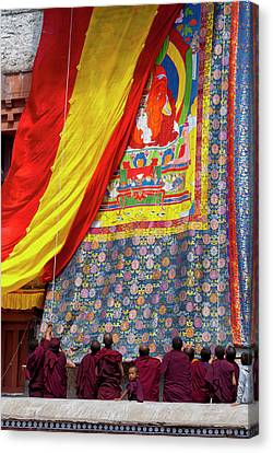Tibetan Canvas Print - India, Jammu & Kashmir, Ladakh, Monks by Ellen Clark