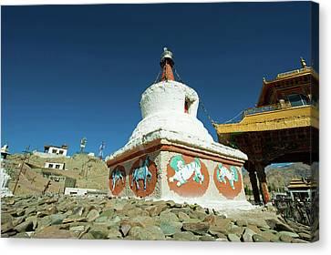 India, Ladakh, Leh, Small White Stupa Canvas Print by Anthony Asael