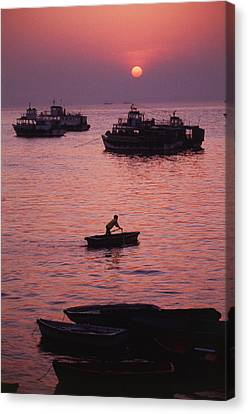 India, Mumbai, View Of Ferry Boat Canvas Print by Nik Wheeler