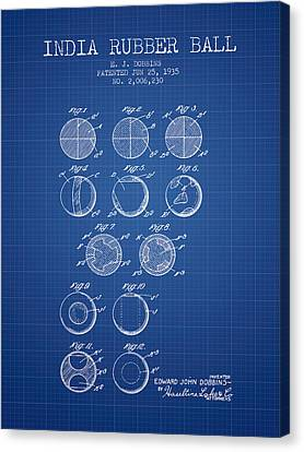 India Rubber Ball Patent From 1935 -  Blueprint Canvas Print by Aged Pixel