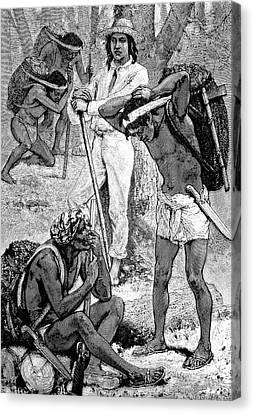 India Rubber Gatherers Canvas Print by Bildagentur-online/tschanz