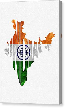India Typographic Map Flag Canvas Print by Ayse Deniz