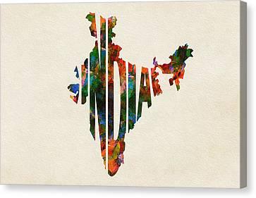 India Typographic Watercolor Map Canvas Print