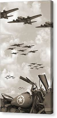 Indian 841 And The B-17 Panoramic Sepia Canvas Print by Mike McGlothlen