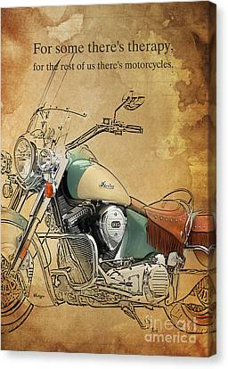 Indian Bike Portrait And Quote Canvas Print