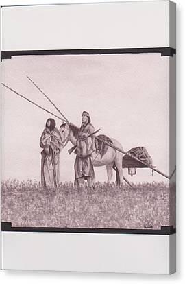 Indian Blackfoot Travis Canvas Print by Billie Bowles