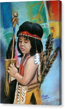 Canvas Print featuring the painting Indian Boy by Melinda Saminski