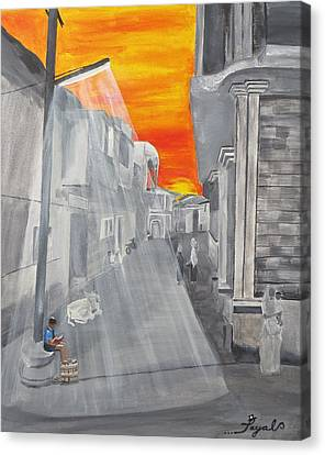 Indian Boy Reading By Lamp Post In Village India Canvas Print