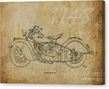 Ink Drawing Canvas Print - Indian Chief 1948 by Pablo Franchi