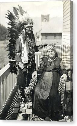 Canvas Print featuring the photograph Indian Chief And Woman by Charles Beeler