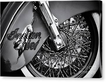 Indian Chief Spoked Wheel Monochrome Canvas Print by Tim Gainey