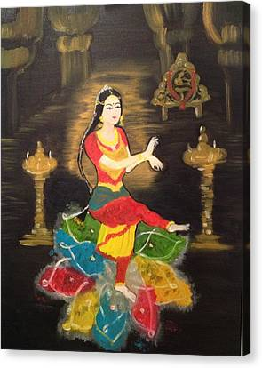 Canvas Print featuring the painting Indian Classical Dancer by Brindha Naveen